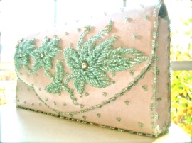 Vintage Beaded Seafoam Clutch