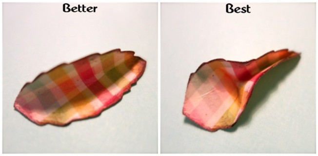 Fold inked leaf in half. Pinch one side, open the other