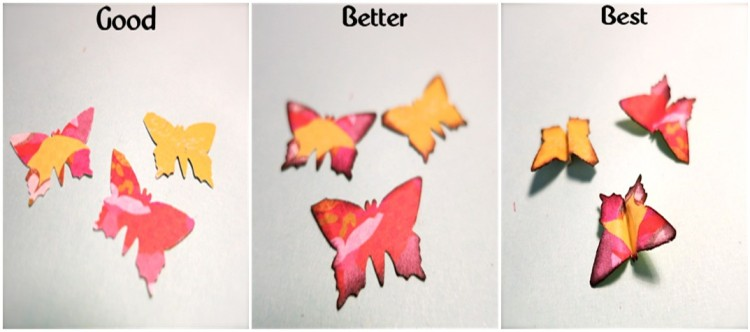 Punch your butterflies and Ink. Then fold in half and pinch.