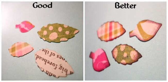 Cut Leaves from fun patterned paper and ink edges