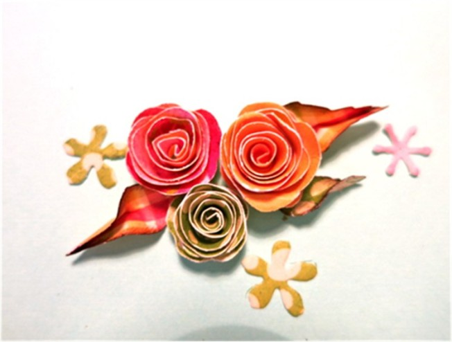 Pretty paper roses with perfect leaves