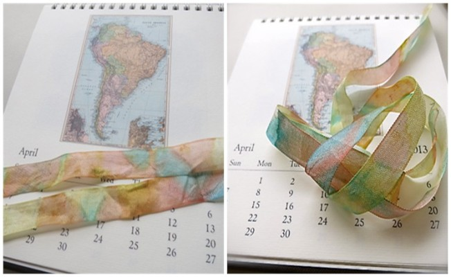 Custom Dyed Ribbon With Vintage Map Hues