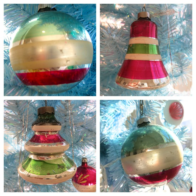 Vintage Christmas Striped Ornaments